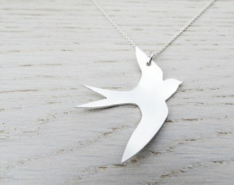 Silver Swift Necklace - Sterling Silver Bird