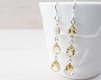 Long Drop Earrings - Citrine & Sterling Silver