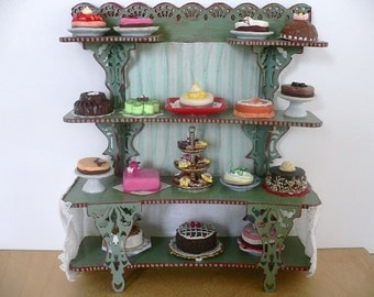 Dollhouse Miniature One-Inch Scale Shelf with Cakes