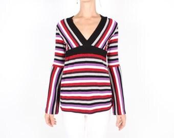 SALE - 90s Does 70s Bright Stripe Pop Art Glitter Print V Neck Long Sleeve Crop Top