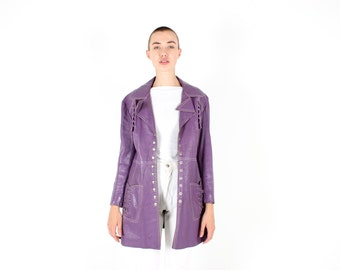 70s PURPLE LEATHER Unisex Punk Studded Eyelet Vince Noir / PRINCE London / Camden Swing Pea Coat / Trench Coat / A-Line Jacket - So Gucci!