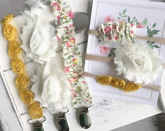 Pacifier Clips/ YOU CHOOSE Yellow Rose, Cream Rose, Yellow Floral/ Newborn Gift/ Baby Girl Shower Gift/Flower Child/Gift Set Nylon Headbands