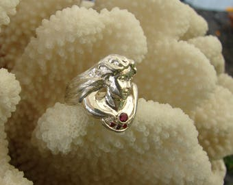 925 Sterling Silver Art Nouveau Lady with Gemstones Ring