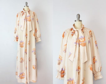 vintage 70s CHLOE by Karl Lagerfeld dress / 1970s floral peasant dress / smocked floral dress / designer 70s dress / luxe bohemian caftan