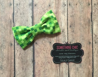 Minecraft inspired Bitmap Bowtie Bow Tie Boys Toddler Infant  Day Collar Bow Hairbow