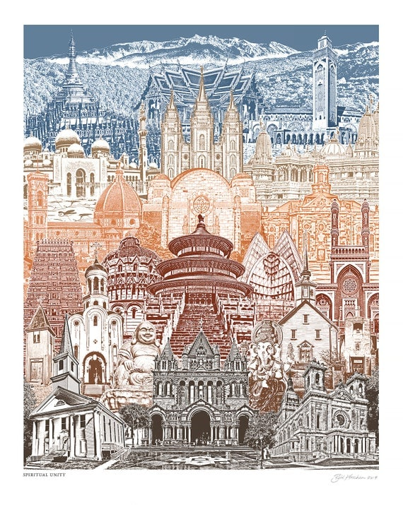 Spiritual Unity - World Skyline - Art Print - Wall Art - famous churches, temples, and mosques - 8.5x11, 11x14, and 16x20 Poster