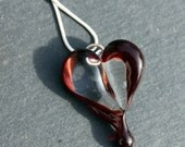 Heart Pendant Glass, Blood Dripping off a Heart Pendant, Bleeding Boro Necklace