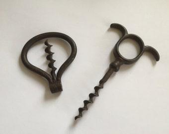 2 Antique French Iron Corkscrews, Folding Corkscrew , 19th Century,