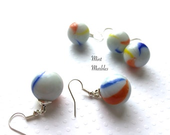Marble Dangle Earrings. White Blue Red Yellow Swirls. Unique Games. Silver Hooks. Under 10. Simple Gifts for Her. Whimsical. Marble Jewelry.