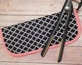 Black and white print flat iron or curling iron travel case