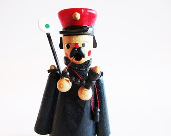 Little Vintage Wooden Incense Smoker Man Conductor with Pipe and Sign  + FREE Box German Incense cones