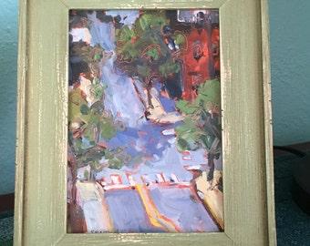 Original oil painting-Landscape art-Plein air-Contemporary vibe-Urban art-Affordable home decor-Impressionist-Small art-Unique arial view