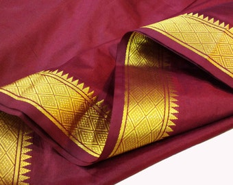 Maroon and Gold Soft Silk Fabric - Gold Border Fabric - South Indian Silk Fabric - Wedding Costume Fabric - Evening Dress Fabric