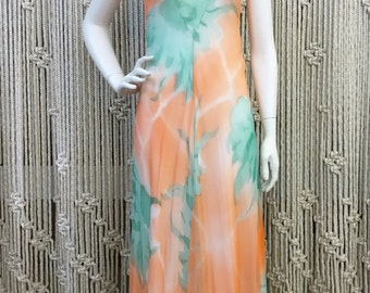 Gorgeous 1970's peach and teal water color maxi dress