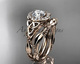 """14kt rose gold diamond celtic trinity knot wedding ring, engagement set with a """"Forever One"""" Moissanite center stone CT7328S"""