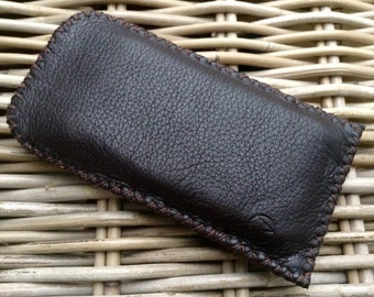 CLEARANCE SALE! Handstitched in UK dark choc brown soft deerskin leather mobile phone case