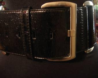 Boho 1980s Vintage Black Pantent Leather Square Silver Buckle Wide Waist Belt