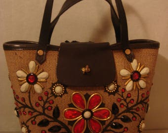 Vintage 1950s Jeweled Embellished Handbag