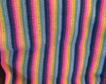 "Pastel colored baby Afghan 28"" wide x 39"" length"