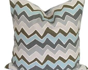BLUE CHEVRON PILLOW Sale.20x20 inch.Decorative Pillow Cover.Housewares.Home Decor.Blue Gray Pillow Cover.Pillow Cover.Pillows.Zig.Chevron