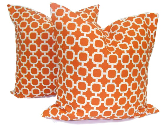 ORANGE OUTDOOR Pillows. SET of Two. 20, 18 or 16 inch.Pillow Covers.Decorative Pillows.Outdoor Covers.Orange Outdoor Pillows.Cushions.cm