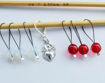 Beaded Stitch Marker Set Red and White with Heart Charm Progress Keeper Knitting Notions Valentine Gift Ideas