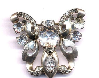 ON SALE Sterling and Crystal Butterfly Brooch   Item No: 14446