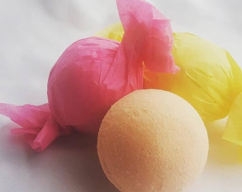 Luxury Bath Bomb Fizzy - 7 oz each -yellow - blue - green - red - orange - relax - moisturizing - skin softening - bubble, fizz and spin!