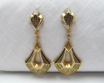 Vintage PIERCED Damascene Dangle Earrings, Made in Spain,  Gold Filled Posts and Backs, Damascene Dangle Earrings, Black Gold Earrings 31