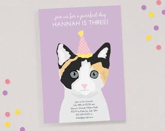 Kitty Cat Birthday Invitation - Children's Birthday Invite