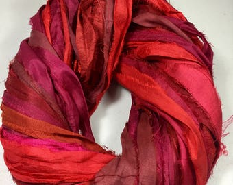 Recycled Sari Silk Ribbon Multi Shade Red Tassel Ribbon Jewelry Sari Wrap Bracelet Fair Trade Crochet Scrapbook Weave  Fiber Art Supply