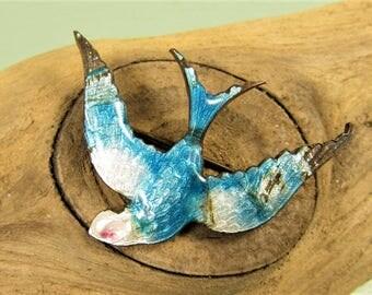 Flying Bird Pin - Vintage Victorian Blue Enamel Swallow Brooch
