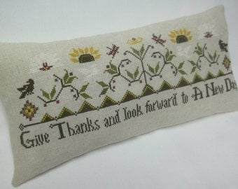 Give Thanks Sampler Cross Stitch Accent Pillow