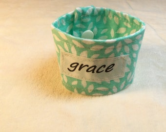 Words of Inspiration Cuff Bracelet Grace in Light Aqua and White