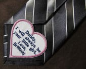 Father of the Bride - Heart Shaped Wedding Tie Patch - Personalized Embroidery - Shown with Navy Blue Writing and Light Pink Heart