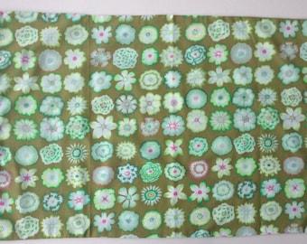 Hand made cotton pillowcase Kaffe Fassett fabric with crochet trim