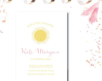 Our Little Sunshine 1st Birthday Invitation - 5x7 Birthday Invitations - Printed or Printable - Free Shipping