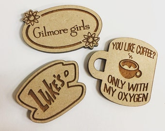 Cross Stitch Needle Minder, Cross Stitch Designs, Wood Magnetic Needle Minder. Hand embroidery, Needle Keeper. Gilmore Girls designs