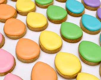 Decorated Cookies - Pastel Eggs - 3 dozen