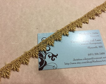 Metallic Gold Venise lace trim, 1/2 inch wide, 1 yard for wedding, bridal, holiday, jewelry, couture by MarlenesAttic - Item 2YY
