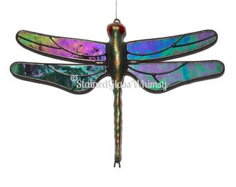 Stained Glass Green DRAGONFLY Suncatcher, Iridescent Wispy Emerald Green with White, USA Handmade, Green Iridescent Dragonfly, Green Firefly