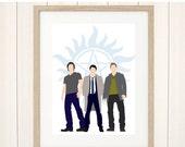 Black Friday SALE Supernatural Print, Supernatural Fanart, Supernatural Poster, Castiel, Sam Dean Winchester