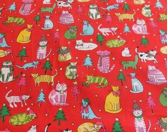 Jingle Cats / Red / Christmas - Alexander Henry Fabric 1 Yard