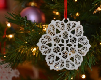 Snowflake #5 embroidered lace ornament