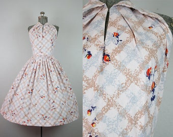 1950's Halter Cotton Rose Print Dress / Size Small