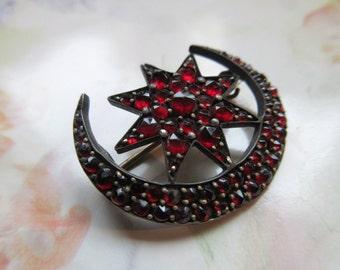 Victorian Bohemian Garnet Pin - Garnet Crescent Moon and Star Brooch _ Bridal Jewelry - January Birthstone - Romantic Gifts - Gift For Women