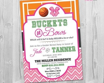Gender Reveal Invitation, Buckets or Bows Invitation, Basketball Theme, Printable, More Gender Reveal Party Invitation Ideas in our Shop
