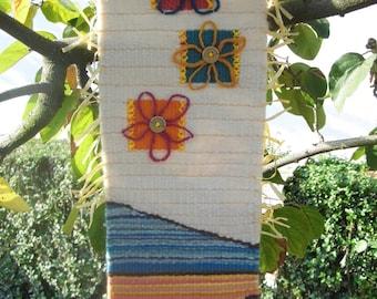 Rustic Fiber Art Woven Wall Hanging Spring/ Easter Decor Ethno Art