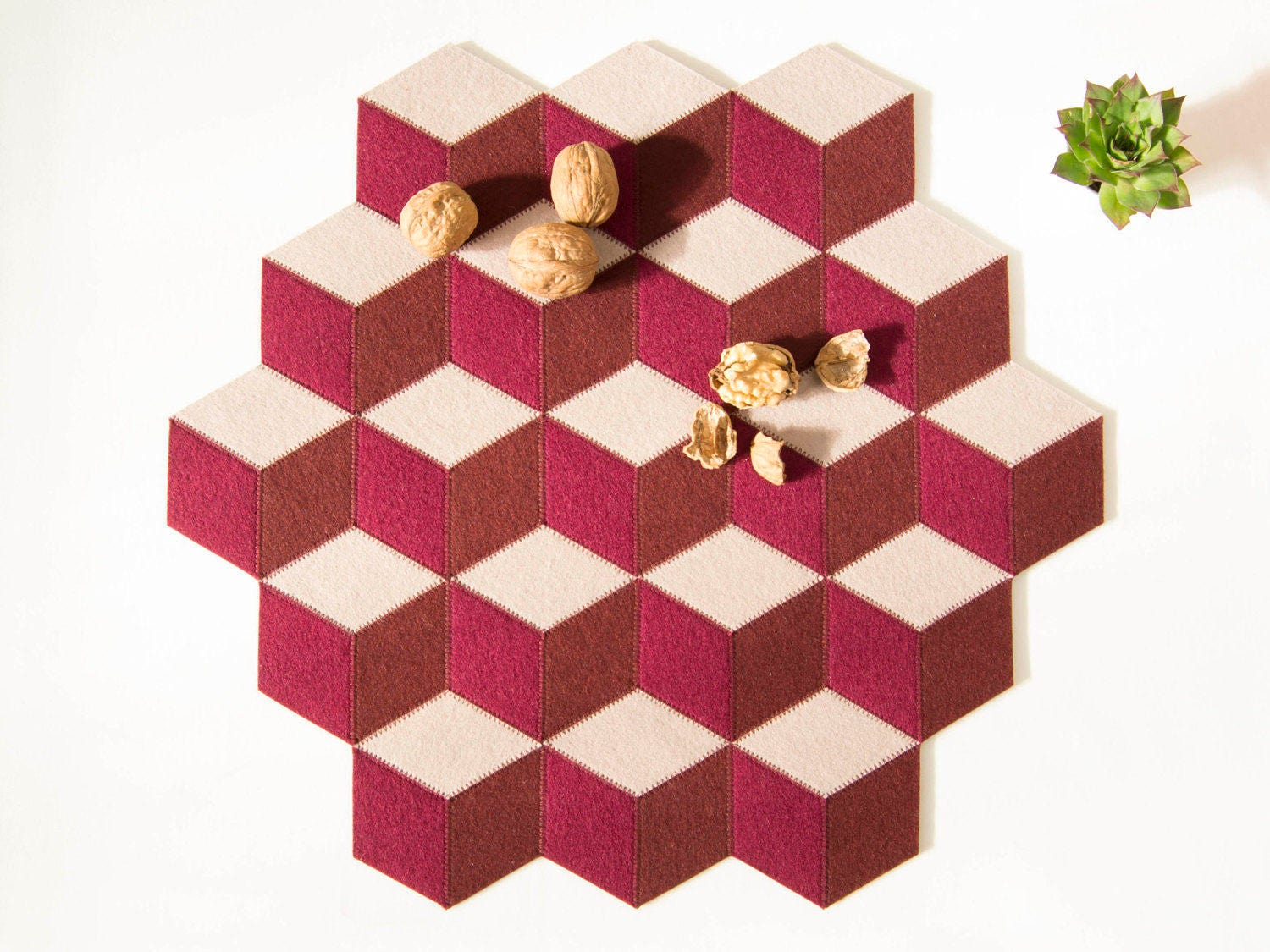 Handmade table mats design - Large Table Mat Wool Felt Burgundy And Almond Geometric Mat Stylish Table Mat Handmade Made In Italy