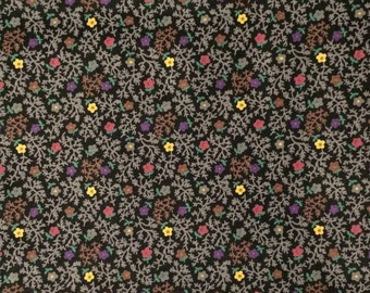 Cotton Fabric / Vintage Cotton Fabric / Floral Cotton Fabric  / Gray Cotton Fabric / Gray Floral Fabric / Quilting Fabric / Calico Fabric
